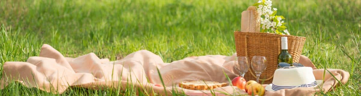 Picknick mit Picknickdecke